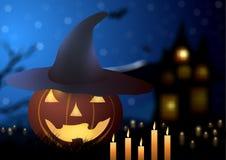 också vektor för coreldrawillustration halloween Pumpahatt med stearinljus på en bakgrund av ett gammalt hus Royaltyfri Fotografi