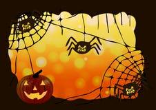 också vektor för coreldrawillustration halloween Ramen av rengöringsduken, spindlarna och pumpan Arkivbild