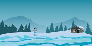 också vektor för coreldrawillustration Hus i snön, bergen och träden Arkivfoton