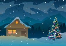 också vektor för coreldrawillustration Hus i snön och berg nära en julgran Royaltyfri Bild