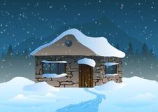 också vektor för coreldrawillustration Hus i snön och bergen Royaltyfria Foton