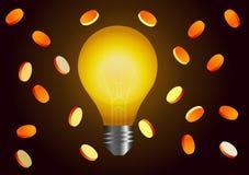 också vektor för coreldrawillustration Idé för förtjänster Lampa och mynt Royaltyfri Bild