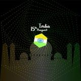 också vektor för coreldrawillustration Idérik indisk nationsflaggafärgbakgrund med det Ashoka hjulet th 15 av Augusti för lycklig royaltyfri illustrationer
