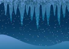 också vektor för coreldrawillustration Istappar på en bakgrund av fallande snö Arkivfoto
