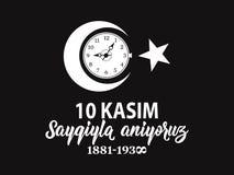 också vektor för coreldrawillustration jubileums- dag Ataturk för datumNovember 10 död Engelska: November 10, respekt och minns vektor illustrationer