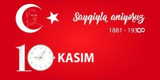 också vektor för coreldrawillustration jubileums- dag Ataturk för datumNovember 10 död Engelska: November 10, respekt och minns royaltyfri illustrationer