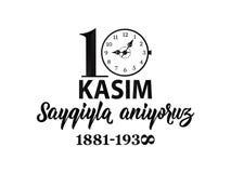också vektor för coreldrawillustration jubileums- dag Ataturk för datumNovember 10 död Engelska: November 10, respekt och minns stock illustrationer