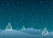 också vektor för coreldrawillustration Jul Abstrakta träd mot en blå bakgrund av fallande snö Arkivfoto