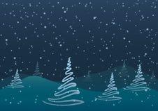 också vektor för coreldrawillustration Jul Abstrakta träd mot en blå bakgrund av fallande snö Arkivbilder
