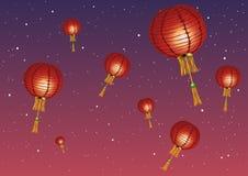 också vektor för coreldrawillustration Kinesiska lyktor mot solnedgången och stjärnorna Royaltyfri Fotografi