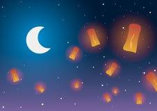 också vektor för coreldrawillustration Kinesiska lyktor mot stjärnorna och månen Arkivfoto
