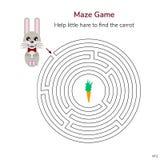 också vektor för coreldrawillustration Lek för barn rund labyrint eller labyrin Royaltyfria Bilder