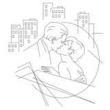 också vektor för coreldrawillustration Linje diagram Förälskat folk i stad Arkivfoton