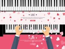 också vektor för coreldrawillustration Musikalisk plan bakgrund med hjärtor Förälskelse Pianotangenttangentbord melodi instrument stock illustrationer