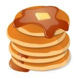 också vektor för coreldrawillustration Nya smakliga varma pannkakor med söt lönn s stock illustrationer
