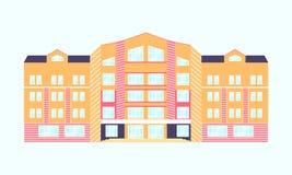 också vektor för coreldrawillustration plan orange rosa byggnad med blåa fönster Royaltyfria Foton