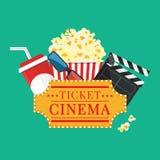 också vektor för coreldrawillustration Popcorn och drink Filmremsagräns Cinem vektor illustrationer