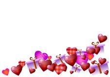 också vektor för coreldrawillustration red steg Hjärtor och gåvor på vit bakgrund Arkivfoto