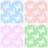 också vektor för coreldrawillustration Sömlös modell av fjärilar Blått rosa färger, gräsplan stock illustrationer