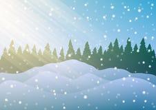 också vektor för coreldrawillustration Snödrivor på bakgrunden av träd och fallande snö Royaltyfri Foto