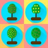 också vektor för coreldrawillustration ställ in framlänges runda symbolsfruktträd appple, eller vektor illustrationer