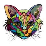 också vektor för coreldrawillustration Stående för popkonst av en katt arkivfoto