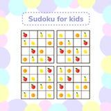 också vektor för coreldrawillustration Sudoku lek för barn med bilder Royaltyfri Fotografi