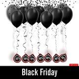 också vektor för coreldrawillustration svarta friday Svartballonger Royaltyfria Foton