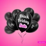 också vektor för coreldrawillustration svarta friday Svartballonger Fotografering för Bildbyråer