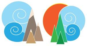 också vektor för coreldrawillustration symboler Natur: berg moln, sol, träd arkivfoto