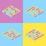 också vektor för coreldrawillustration uppsättning av fyrkantig labyrint för 4 abstrakt begrepp som är isometrisk Y Royaltyfria Foton