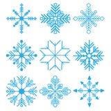 också vektor för coreldrawillustration Uppsättningen av nio snöflingor gör linjen ftatdesign tunnare Arkivbild