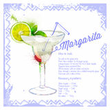 Сocktail Margarita. Menu drawn watercolor. Royalty Free Stock Images