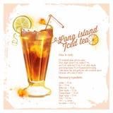 Сocktails Long island iced tea. Royalty Free Stock Photos
