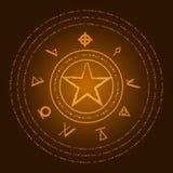 ockult symboler Fläck av jäkeln Ezotreic pictogram också vektor för coreldrawillustration Arkivfoton