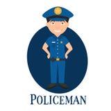 Ockupationpolisen, teckenet för ung man s vektor royaltyfri illustrationer