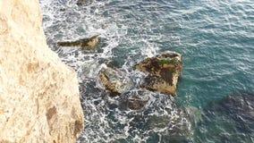 Ocky coast, Italy. Waves crash into rocks stock footage