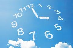 4 oclock or tea time of clock cloud style. 4 oclock of clock cloud shape on blue sky. Its tea time royalty free stock image