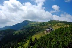 Ocolasul mare and Dochia hut. Mountain view of Ocolasul Mare, a scientific rezervation, restricted area, and Dochia hut. Ceahlau mountain, Romania Stock Images