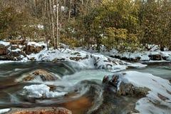 Oconaluftee河水在大烟山 库存照片