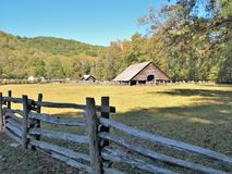 Oconaluftee Mountain Farm Museum. The Mountain Farm Museum and Oconaluftee Visitor Center are located at the entrance to the Great Smoky Mountains National Park Stock Images