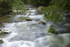 Oconaluftee River, Smoky Mountains Stock Photo