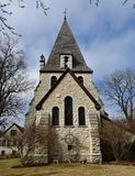Oconomowoc Church. This is a Spring picture of the back of the Zion Episcopal Church located in Oconomowoc, Wisconsin.  This stone church built in 1889 is an e Stock Photography