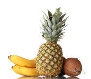 Сoconut, banana and pineapple Royalty Free Stock Photography