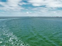 View of Pamlico Sound from the Hatteras to Ocracoke Ferry. The Ocracoke Ferry, operated by the North Carolina Department of Transportation, is one of North Royalty Free Stock Photo