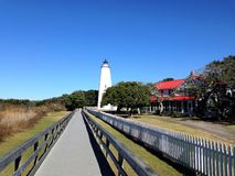 Ocracoke Island Lighthouse on the Outer Banks. Of North Carolina. North Carolina`s oldest lighthouse in operation royalty free stock photos