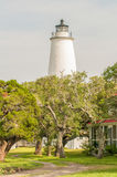 The Ocracoke Lighthouse and Keeper's Dwelling on Ocracoke Island Stock Images