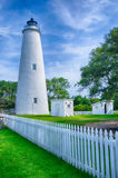 The Ocracoke Lighthouse and Keeper's Dwelling on Ocracoke Island. Of North Carolina's Outer Banks royalty free stock photos