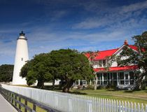 Ocracoke Lighthouse and Keeper's Quarters NC Royalty Free Stock Photography