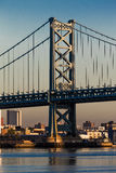 OCT 15, 2016, Ben Franklin Bridge over Delaware River to Philadelphia, PA  at dawn. Royalty Free Stock Image